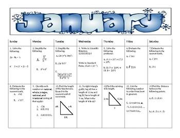 January Math Spiral Review Calendar