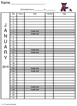 January 2018 Sign In Sheets - Editable