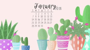 January 2018 Cactus Calendar Wallpaper
