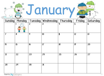 January 2018 Calendar By Crazy4kindergarten Teachers Pay