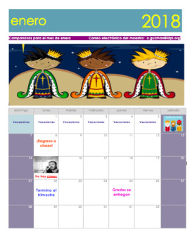 January 2018 Calendar in Spanish. Calendario enero 2018 en español.