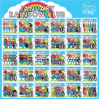 January 2018 Rainbow Club Clipart Bundle