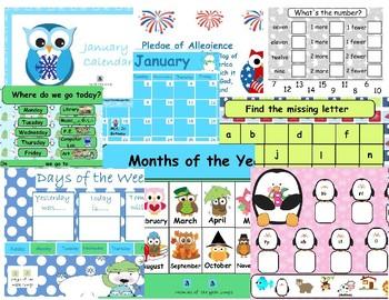 January 2018 calendar interactive whiteboard