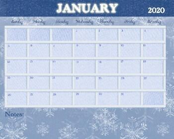 January 2020 Calendar 11x17 January 2020 Calendar   8x10 by Drawn to Learn   TpT