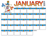 January 2019 Calendar - New Year Dog Theme