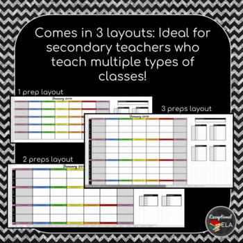 January 2019-July 2020 Monthly Digital Teacher Planner w/ Google sheets
