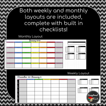 January 2019-July 2020 Weekly + Monthly Digital Teacher Planner w/Google Sheets