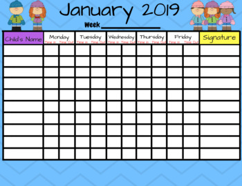 january 2019 preschool and daycare sign in form by clubbhouse kids