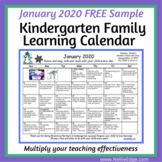 January 2020 Kindergarten Family Learning Calendar FREE Sample