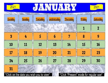 January 2021 Interactive Calendar/Lesson Planner-For any Class (Google Slides)