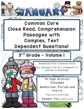 Jan. 3rd- Close Read Comprehension Passages with Questions CC Aligned