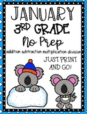 January 3rd Grade Math No Prep Print and Go