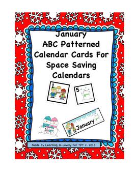 Jan. ABC Pattern Calendar for Regular or Smaller Calendars