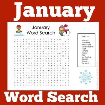 January Activity | January Word Search