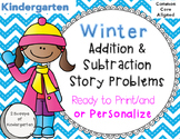 Winter Addition & Subtraction Story Problems Print & Go/Pe
