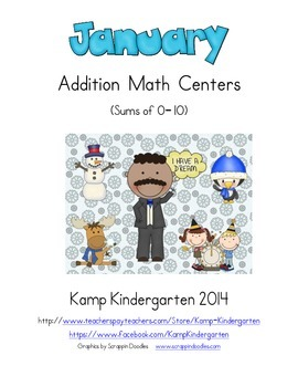 January Addition Math Centers (Sums of 0 to 10)