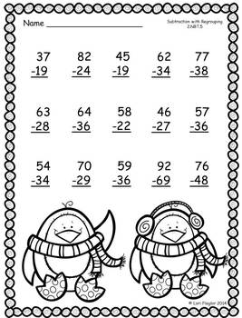 January Addition & Subtraction with Regrouping Printables