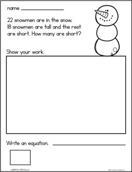 January Addition Word Problems First Grade