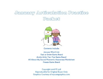 January Articulation Practice Packet