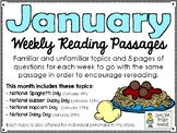 January BUNDLE of Weekly Reading Passage and Questions (4