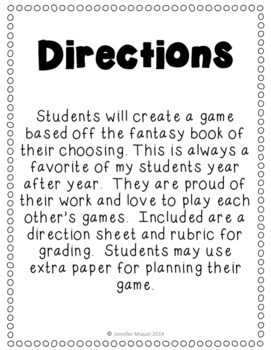 January Book Report:  Create a Game for a Fantasy Book