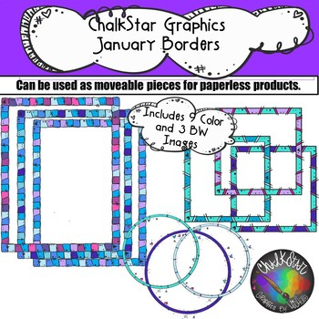 January Borders Clip Art