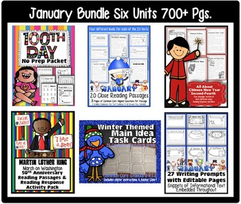New Year Bundle: 100th Day, January, Winter, MLK, Chinese New Year, 6 Units!