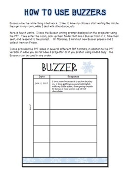 Buzzer Packet JANUARY (Bell Work-Journal) Common Core Writing Prompts