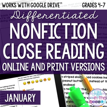 January COMBO Differentiated Nonfiction Close Reading Texts and Questions
