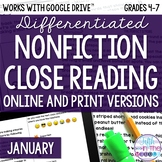 January COMBO Differentiated Nonfiction Close Reading Text