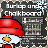 January Calendar: Burlap and Chalkboard