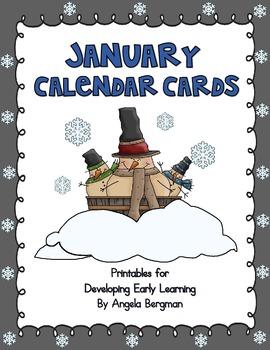 January Calendar Cards -** FREEBIE **