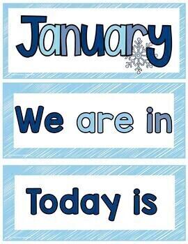 January Pocket Chart or Linear Calendar Cards