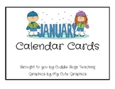 January Calendar Cards (winter themed)
