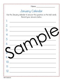 January Calendar Center Task Cards - Calendar Activity