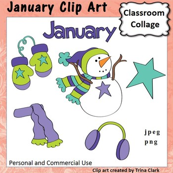 January Calendar Clip Art - Color - personal & commercial use
