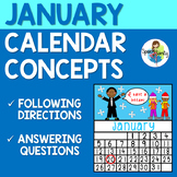 January Calendar Concepts: Following Directions & Answering Wh-Questions