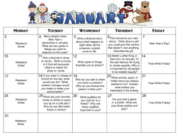 January Calendar Editable Journal Prompts