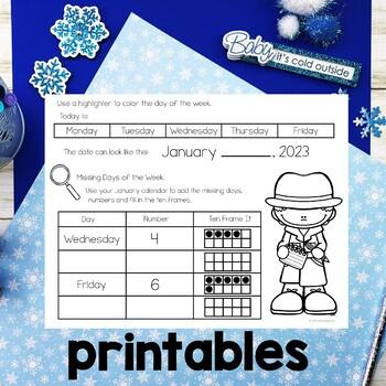 Math Meeting January Calendar Journal Activities