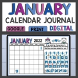 Math Meeting January Calendar Journal Activities