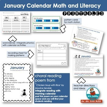 Calendar Keepers for January   Calendar Math and Activities