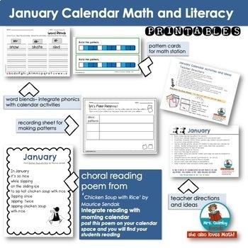 Calendar Number Cards for January | Calendar Math and Activities