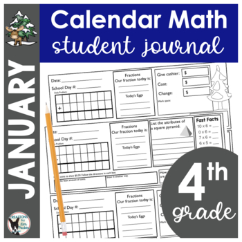 January Calendar Math Student Journal- 4th Grade Edition