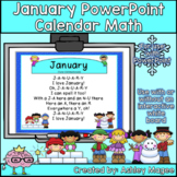 January Calendar Math - in PowerPoint - use with or without interactive board
