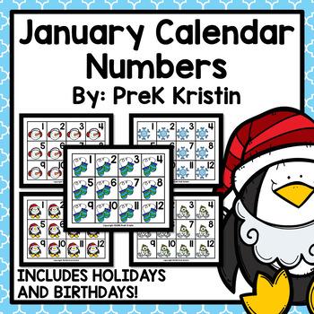 January (Winter Themed) Calendar Numbers