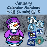 January Calendar Numbers (6 sets) 1-31