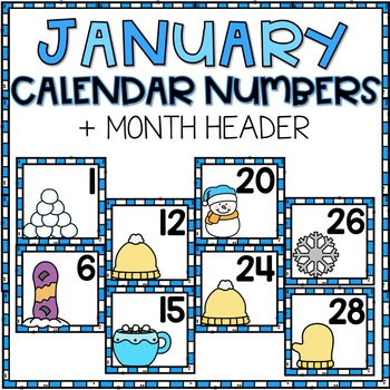 January Calendar Numbers for Pocket Chart Cards