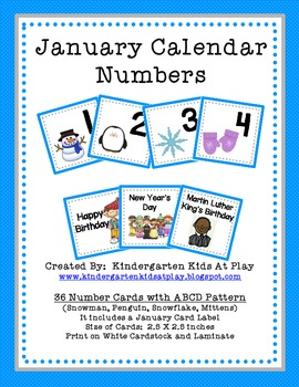 January Calendar Numbers with Patterns