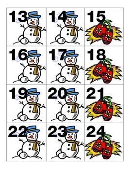 January Calendar Pieces Winter Snowman Mittens AAB Pattern