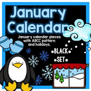 January Calendar Pieces - Black Set